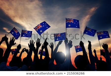 Stok fotoğraf: Australian Fan Celebrate Australia - Woman With Australian Flag