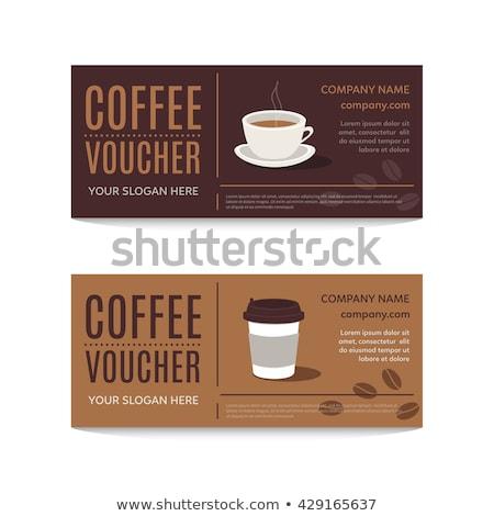 Koffie bon korting bon vector sjabloon Stockfoto © Natali_Brill