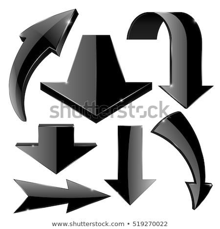 Black 3d shiny arrows. Vector illustration on white background stock photo © kyryloff