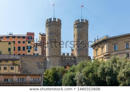 средневековых · город · ворот · Италия · два · башни - Сток-фото © boggy