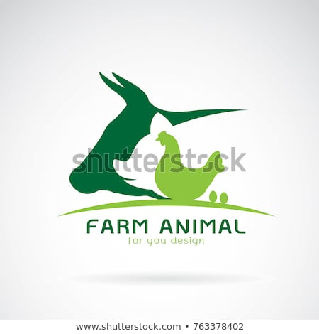 farm animals on green badges stock photo © colematt