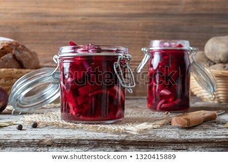 Fermented beet kvass in two glass jars Stock photo © madeleine_steinbach