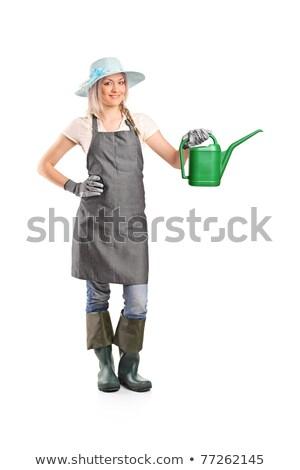 Afbeelding glimlachende vrouw tuinman 20s schort Stockfoto © deandrobot