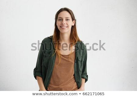 surpreendido · mulher · atraente · mãos · boca · branco · feminino - foto stock © deandrobot