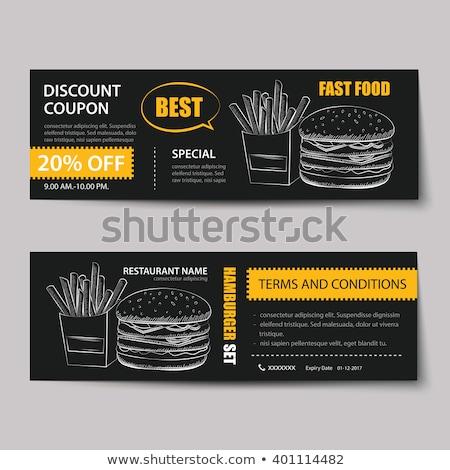 Gyorsételek hamburger utalvány árengedmény sablon terv Stock fotó © Natali_Brill