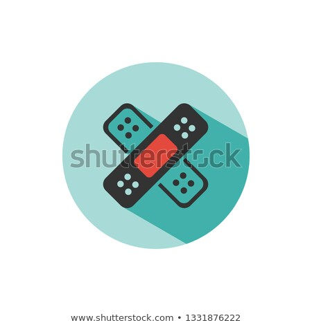 Band aid icon with shadow on a green circle. Medicine care object Stock photo © Imaagio