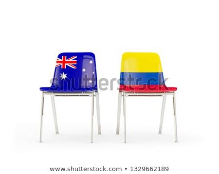Kettő székek zászlók Ausztrália Colombia izolált Stock fotó © MikhailMishchenko