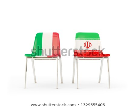 two chairs with flags of italy and iran stock photo © mikhailmishchenko