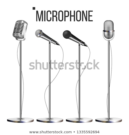 Microphone Set With Stand Vector. Music Icon. Vintage Concert. Modern And Retro. Audio Communication Stock photo © pikepicture