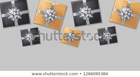 Ajándékdobozok ezüst íj vektor valósághű sötét Stock fotó © frimufilms