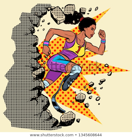 breaks the wall disabled African woman runner with leg prostheses running forward. sports competitio Stock photo © studiostoks