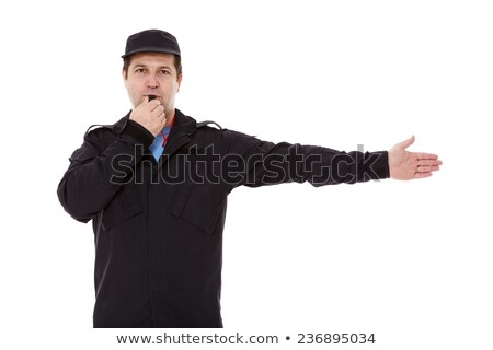 police officer cop points directions isolate on white background stock photo © studiostoks