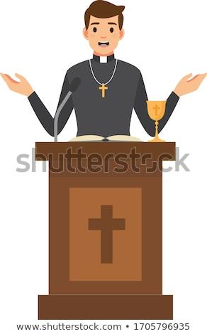 cartoon · katholiek · priester · kruis · schilderij · zwarte - stockfoto © lenm