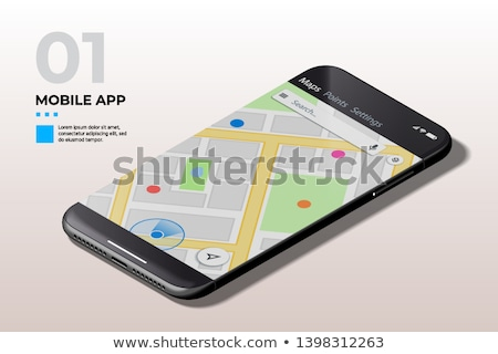 Modern Mobile Cell Phone With Gps Map Ui Ux And Gui Template Foto stock © Tashatuvango