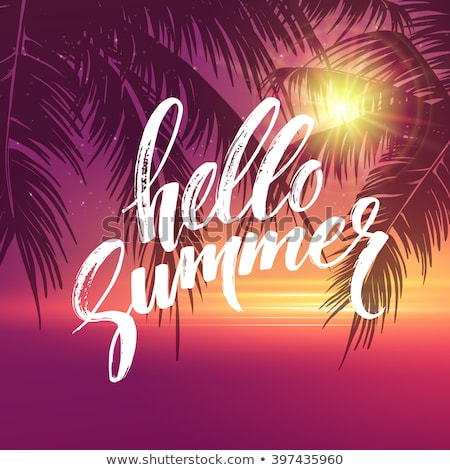 Hello Summer Illustration with Typography Letter and Tropical Leaves on Ocean Blue Background. Vecto Stock photo © articular