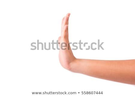 Kızlar el durdurmak sinyal kız Stok fotoğraf © alexaldo