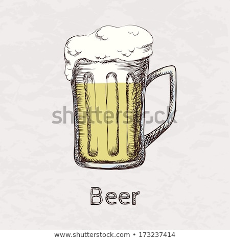 Hand Drawn Mug Color Froth Bubble Light Beer Vector Stock photo © pikepicture
