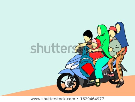 Mother and Daughter Riding Scooter Vector Image Stock photo © robuart
