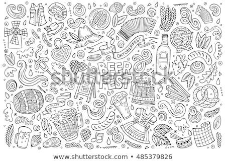 set of oktoberfest cartoon doodle objects symbols and items stock photo © balabolka