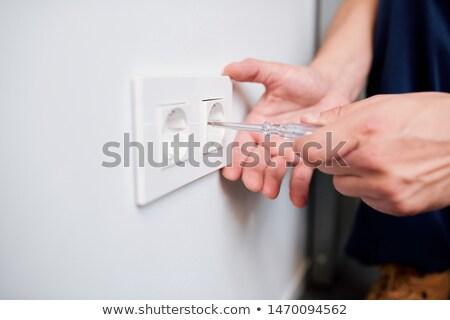 рук молодые профессиональных электрик напряжение Сток-фото © pressmaster