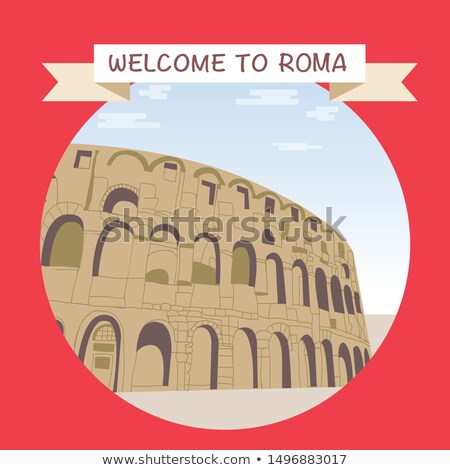 Welcome to Roma promotional banner with famous coliseum. Stock photo © Margolana