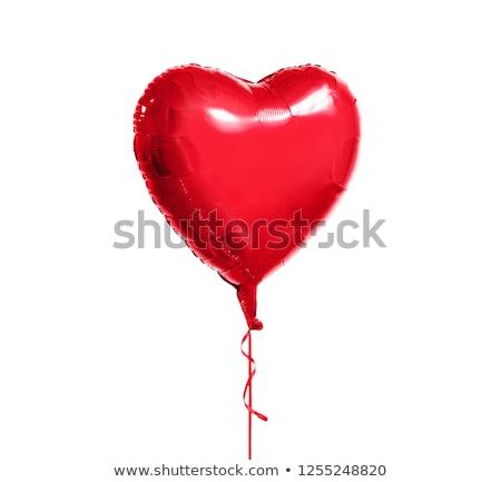 Fémes piros szív alakú hélium léggömb Stock fotó © dolgachov
