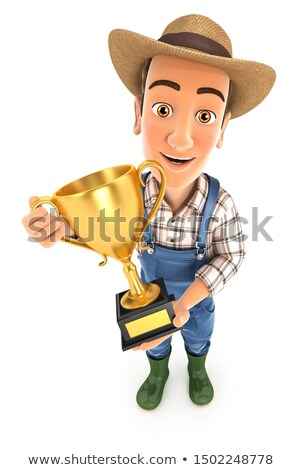 3d farmer standing with gold trophy cup Stock photo © 3dmask