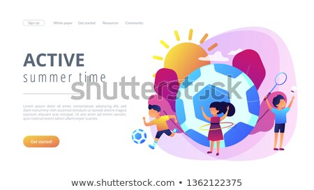 traveling time colorful vector landing page template stock photo © decorwithme