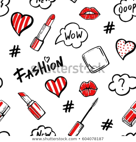 Rode lippen lippenstift kus print ingesteld witte Stockfoto © adamson