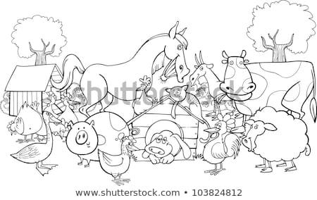 black and white cartoon farm animal characters group stock photo © izakowski