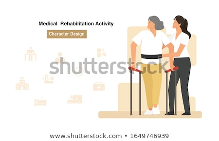 Senior Patient and physical therapist in rehabilitation walking exercises Stock photo © Kzenon