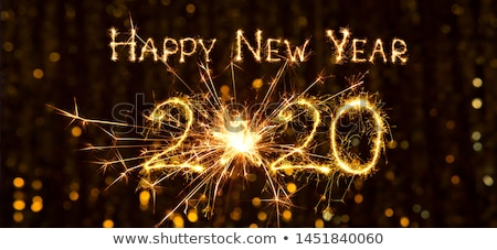 shiny 2020 happy new year golden wide banner  Stock photo © SArts