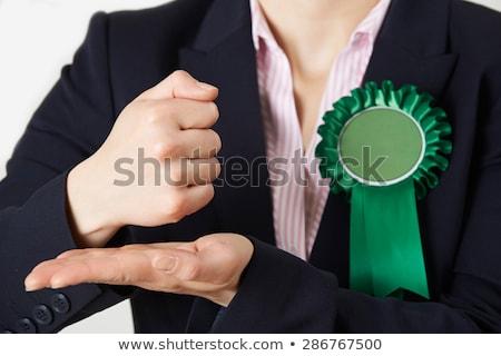 Vrouwelijke politicus hartstochtelijk toespraak Stockfoto © HighwayStarz