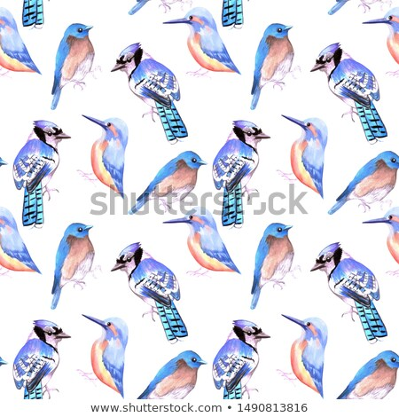 Birds kingfisher, bluejay, bluebird in tints and shades of blue seamless watercolor background Stock photo © shawlinmohd