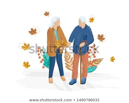 стариков ходьбе вектора стиль осень Осенний сезон Сток-фото © frimufilms