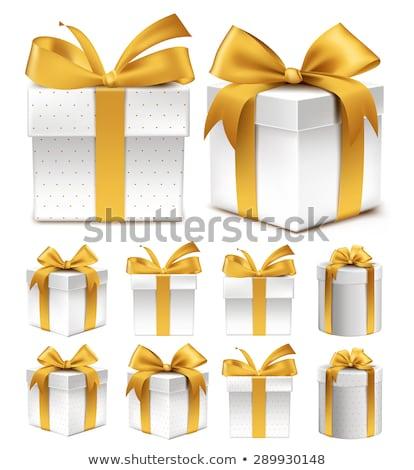 Gerçekçi hediye kutusu sarı yay yalıtılmış beyaz Stok fotoğraf © olehsvetiukha