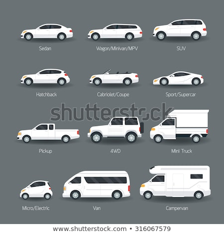 Cars Isolated on White, Cabriolet and Sedan Stock photo © robuart