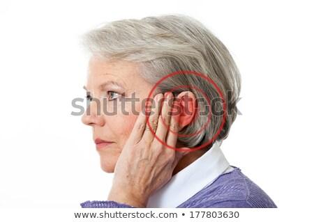 Rouge cercle oreille modèle cheveux Photo stock © AndreyPopov