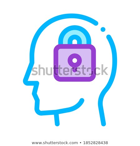 Locked Padlock In Man Silhouette Mind Vector Icon Stock photo © pikepicture