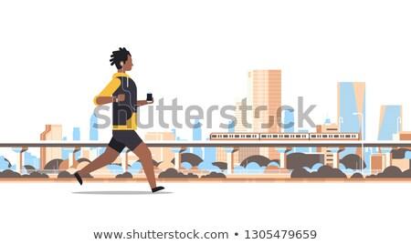 Férfi fut headset hallgat zene fickó Stock fotó © jossdiim