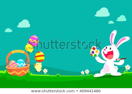 Cartoon Easter Bunny mand gekleurde eieren illustratie vrolijk pasen Stockfoto © izakowski