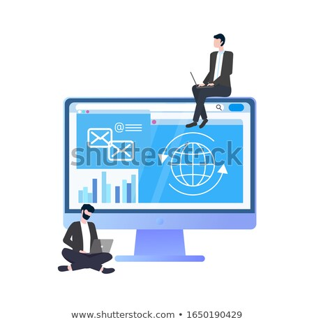 Worker with Computer in Suit, Workteam Vector Stock photo © robuart