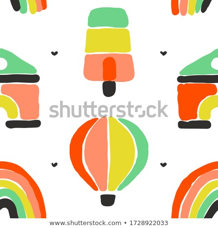 Seamless pattern with rainbow, ice cream, hot air balloon and house construction set Stock photo © ussr