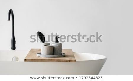 Wooden bath accessories Stock photo © olira