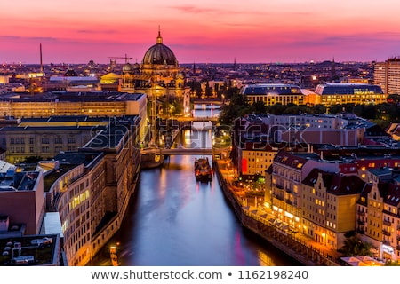драматический закат реке Берлин телевидение башни Сток-фото © elxeneize