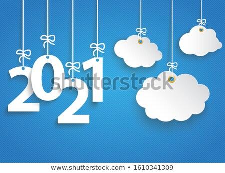 Striped Blue Sky 2021 Cloud Sticker Stock photo © limbi007