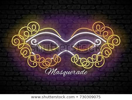 Parıltı tebrik kartı maske venedik karnaval parlak Stok fotoğraf © lissantee