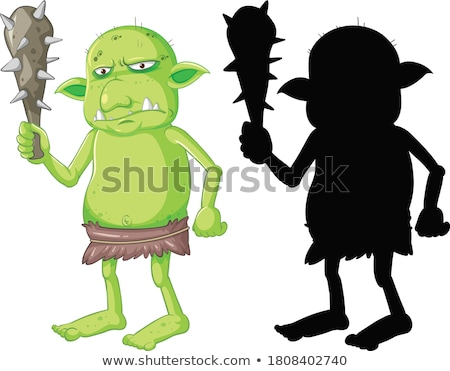 Goblin or troll holding hunting tool in color and silhouette in  Stock photo © bluering