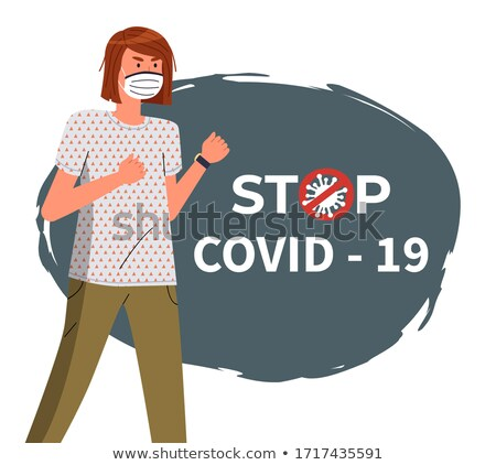 Banner in flat style with woman in face medical mask, crossed out stop sign, spreading covid-19 Stock photo © robuart