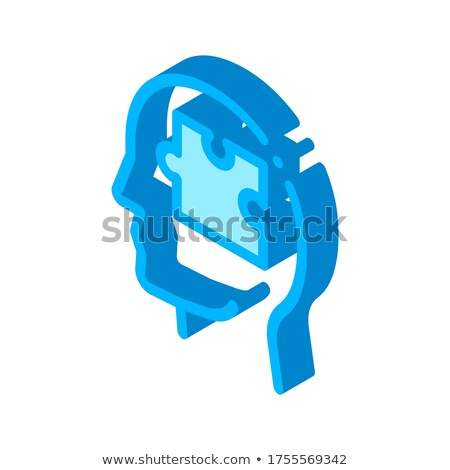 Puzzle részlet férfi sziluett elme izometrikus Stock fotó © pikepicture